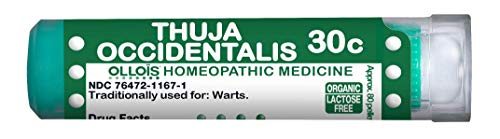 OLLOIS Thuja Occidentalis 30C, Homeopathic Medicine, Pellets for Warts, Lactose-Free & Organic, 80 Count