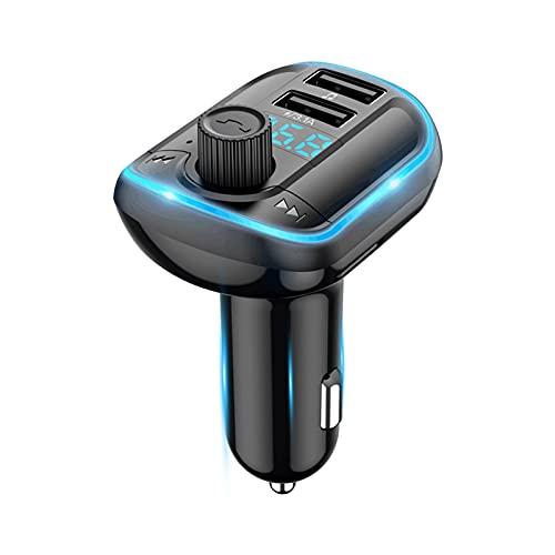 NETVIP Transmisor FM Bluetooth para Coche Transmisor FM Inalámbrico Receptor de Radio con Dual USB,Luz de Anillo Azul,Reproductor de música Compatible Soporte Tarjetas SD y U Disk