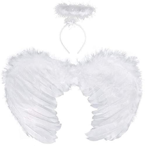 Sunshine smile Engel Flügel Engels flügel Kostüm Federflügel Engel Engelsflügel engelsflügel deko Party Fasching Kostüme Kostümparty Verkleidung (Weiß)