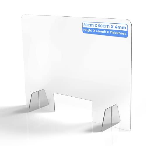 Schreibtisch Trennwand mit Durchreiche Schutzwand Tischaufsatz Transparent Acryl für Nagelstudio Spuckschutz Hustenschutz Arbeitplatz Büro Schule Küche (L:80cm H:50cm B:4mm) (M, transparent)