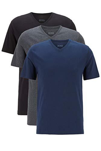 BOSS Herren T-Shirt VN 3P CO Dreier-Pack T-Shirts mit V-Ausschnitt und Logo-Stickerei