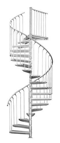 SCALANT Scarvo 130, Außenspindeltreppe, Stahltreppe, feuerverzinkt, Durchmesser 130 cm, Baukastensystem (130 cm)