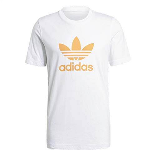 adidas Camiseta de trébol blanco, naranja S