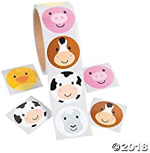 200 Adorable FARM ANIMAL Face STICKERS (2 Rolls of 100) - PARTY FAVORS - COWS Pigs DUCKS - Daycare - DOCTOR - Classroom - Teachers