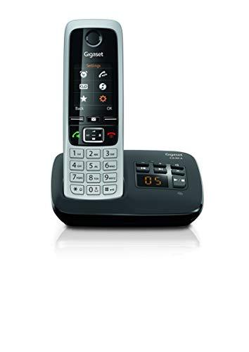 Gigaset C630A Trio – Premium schnurloses Heimtelefon mit Anrufbeantworter und störender Anrufsperre – 3 Hörer, Silber/schwarz