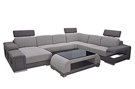 JVmoebel Tela de esquina moderna XXL para sofá de salón en forma de U B2015 tela + mesa
