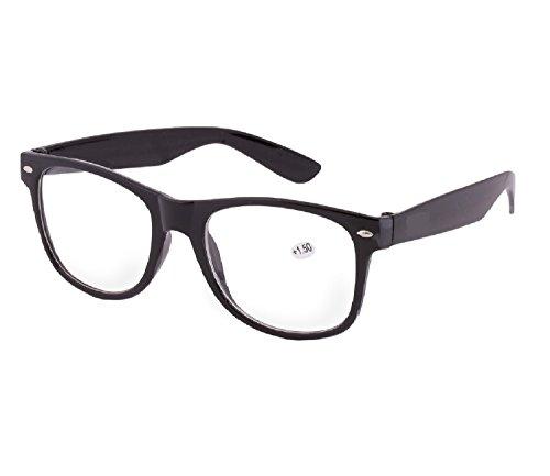 NEW UNISEX (Damen Herren) Retro Vintage schwarz Lesebrille Brille +1.0 +1.5 +2.0 +2.5 +3.00 +4.00 Reading glasses Morefaz(TM) +1.5 chwarz