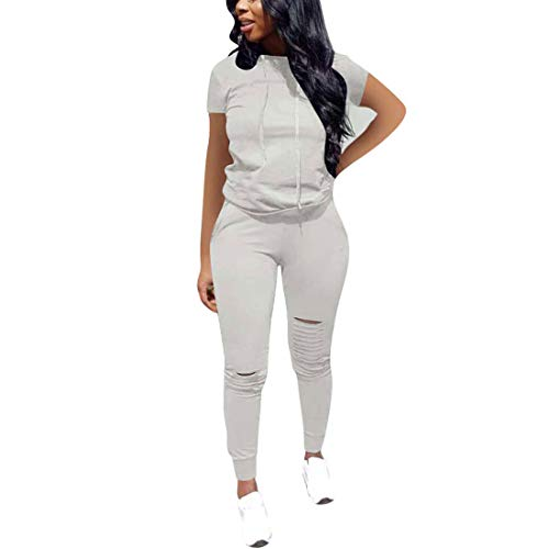 Nimsruc Women 2 Piece Tracksuit Outfits Casual Sports Short Sleeve Pullover Hoodie Sweatsuits Gray XXL
