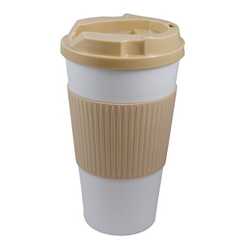 Ruumi Rev-Air Ergonomic, Nose-Accommodating Travel Mug, 16 oz, White/Tan