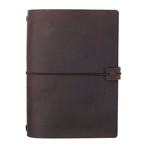 A5 Travelers Notebook Cover, Genuine Leather Notebook Cover for 5x8 Travel Journals Softcover & Hardcover, Elastic Hold & Closure, Dark Brown