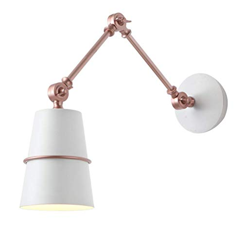 Kreative Wandleuchte Flexibel Verstellbar Wandlampe aus Metall E14 LED Innen Moderne Wandlampen Bettleuchte Leselampe Schlafzimmer Studieren Arbeite Bürozimmer Wohnzimmer Wandspot Lampe,Weiß