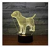 3D Der Hund Optische Illusions-Lampen, Tolle 7 Farbwechsel Acryl berühren Tabelle Schreibtisch-Nachtlicht mit USB-Kabel für Kinder Schlafzimmer Geburtstagsgeschenke Geschenk