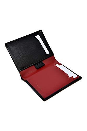 Cartera Billetera Delgada Negra y Roja para Hombre - Cuero Genuino Natural - Bloqueo RFID - 11 Tarjetas de Crédito, Monedero y Billetes - Slim, Clásico, Elegante y Moderno