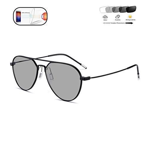 HQMGLASSES Ultralight Pure Titanium Smart Progressive multifocal Reading Glasses, photochromic Anti-Blue Light Outdoor Sunglasses Anti-Ultraviolet/Anti-Glare Diopter +1.0 to +3.0,Black,+2.5