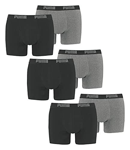 PUMA Herren Boxershorts Unterhosen 100004386 6er Pack, Wäschegröße:XL, Artikel:-691 Dark Grey Melange/Black