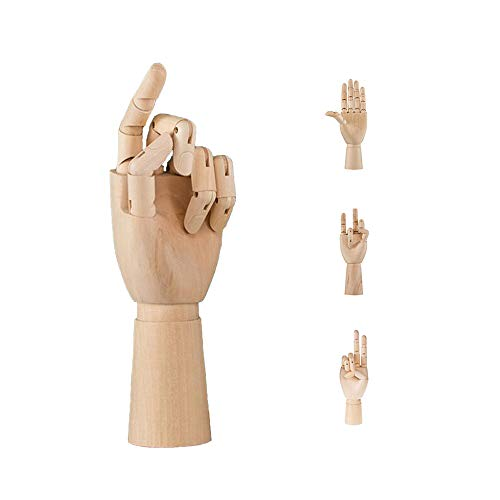 Wooden Body Hand Poseable Mannequin Flexible Artist Drawing Joint Adjustable Crafts Desk/Cabinet/Office/Study Interior Decoration (Hand, M)