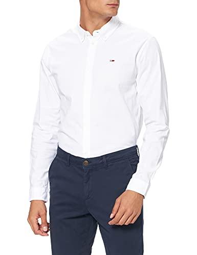 Tommy Jeans Herren TJM Stretch Oxford Shirt Freizeithemd, Weiß (White 100), Medium