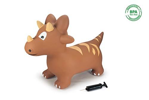Jamara 460591 Hüpftier Dino mit Pumpe - Fördert den Gleichgewichtssinn und die motorischen Fähigkeiten, Tierohren dienen dem Kind als Halt, robust und widerstandsfähig, pflegeleicht, bis 50 kg, braun