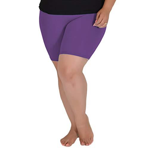 Stretch is Comfort Women's Cotton Plus Size Bike Shorts Purple X-Large