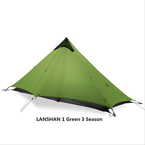 BAJIE tent Gear Lan Shan 1 Ultralight 15D Silicone Coated 1 Man Single Person Backpacking Tent 3 Season For Camping Hiking Trekking 15D Green 1 People