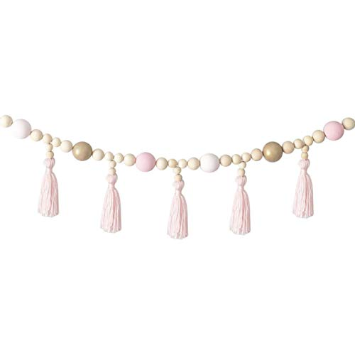 cherrypop Kid Baby Room Yarn and Bead Garland Hanging with Tassel Nursery Pearl Decor Props for Kids Room Gift-Pink+Gold