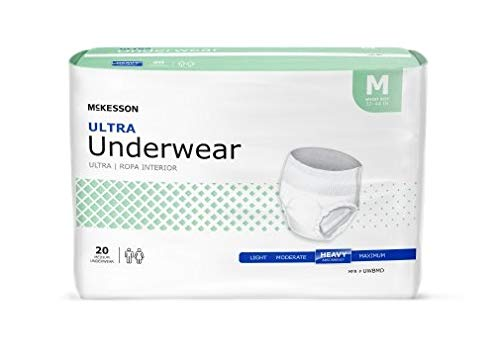 Adult Disposable Ultra Underwear Diaper, Medium, Pull On, McKesson UWBMD - Pack of 20
