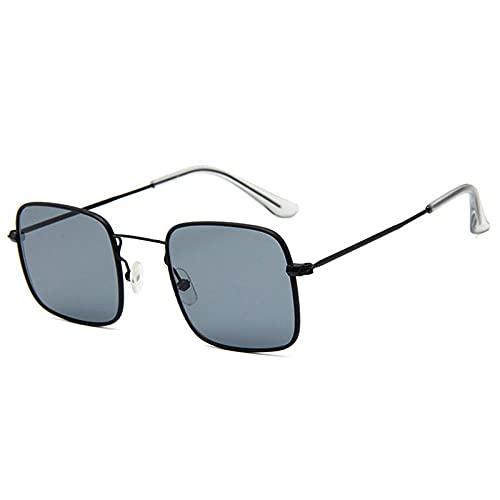 Powzz ornament Nuevas gafas de sol cuadradas para mujer, gafas de sol Retro con montura metálica, gafas de sol para hombre,Gafas De Sol Vintage para Mujer-BlackGray