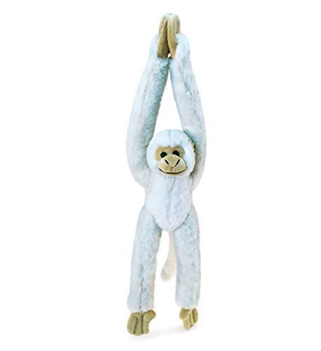 DolliBu Plush Hanging Squirrel Monkey Stuffed Animal - Soft Huggable White Long Arms Monkey  Adorable Zoo Plush Toy  Cute Jungle Cuddle Gift  Super Soft Plush Doll Animal Toy for Kids & Adults - 21