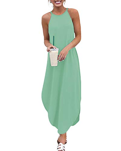YOINS Sommerkleid Damen Lang Sexy Oversize Ärmellos Strandkleid Casual Partykleid Elegant Lose Kleid HoheTaille Minzgrün 44