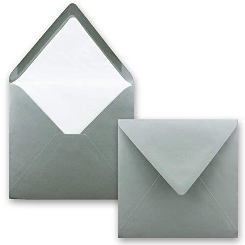 100 x Briefumschläge Quadratisch 16 x 16 cm in - Umschläge mit weißem Seidenfutter - Kuverts ohne Fenster & Nassklebung - 90 g/m²
