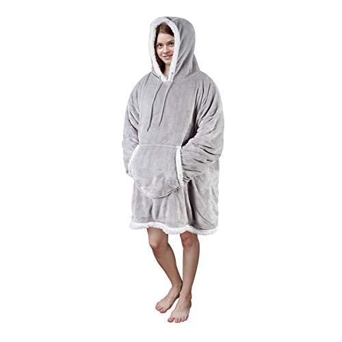 Viviland Pullover Damen Pullover Herren Hoodie Sweatshirt, großer und Warmer Hausanzug für Erwachsene, Grau