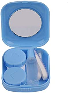 Mini Square Contact Lens Case Box Travel Kit Easy Carry Mirror Container Blue