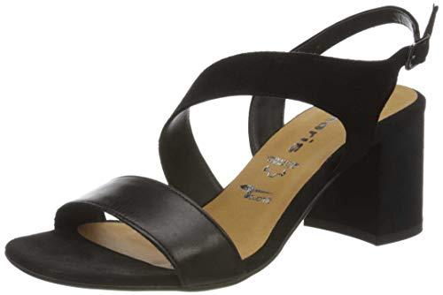 Tamaris 1-1-28385-24, Sandali con Cinturino alla Caviglia Donna, Nero (Black/Blk Lea. 013), 36 EU