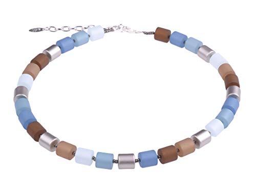 """Adi Modeschmuck Damenkette """"Bärbel"""" aus Polaris- und lackierten Acrylzylindern, blau/braun Mix mit silbernen Akzenten. Handgefertigt in Berlin."""
