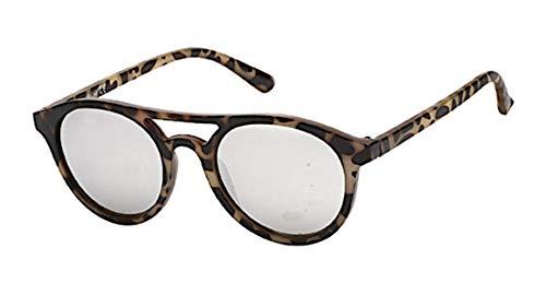 Chic-Net Sonnenbrille Retro 400 UV Panto Glasform Doppelsteg verspiegelt silber