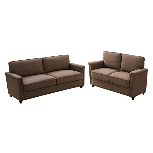 carkoci Couches for Living Room, Fashion Living Room Furniture Sets Modern Style Sectional Couch 2 Piece Sofa and Loveseat Set Accent Upholstered Sofa Sets for Living Room Apartment (Brown)