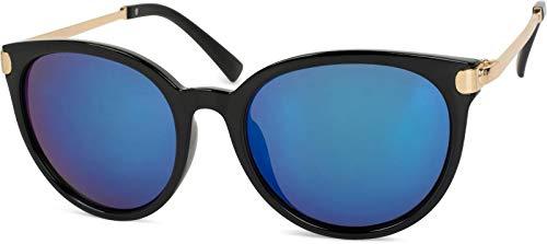 styleBREAKER gafas de sol con forma de ojos de gato y patillas de metal, lentes redondas, de señora 09020073, color:Dorado-negro montura/Azul vidrio de espejo
