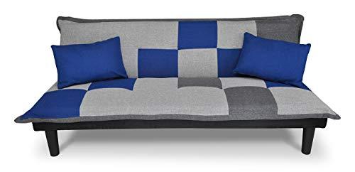 Divano letto clic clac, divanetto Russell Grigio scuro - blu - grigio chiaro