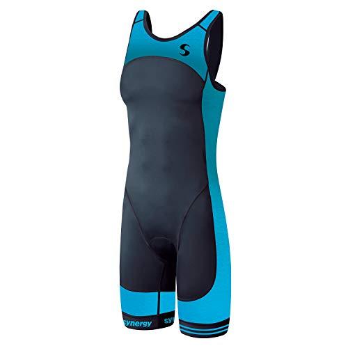 Synergy Women's Tri Suit - One Piece Triathlon Open Back Trisuit (Aqua/Black, Medium)