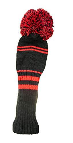 Long Ridge Pom Pom Driver - Funda para Drivers de Golf, Color Negro/Rojo, Talla n/a