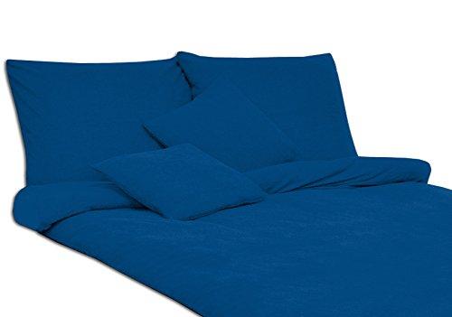 MODHAUS Bettwäsche Set Frottee Einfarbig Unifarbe schöne Farben viele Größen (135x200+1x80x80, Kornblume)