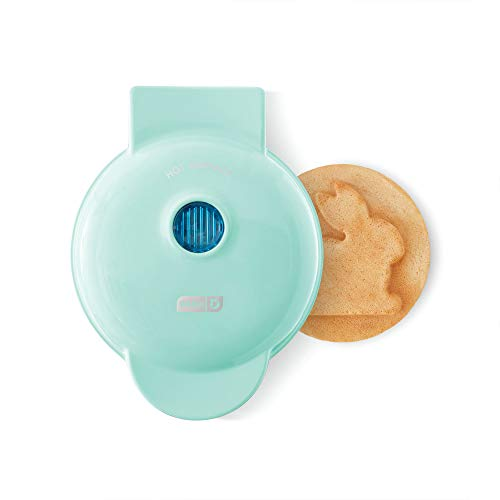 Dash DMWB001AQ Making Mini Waffle Maker Machine for Individuals, Paninis, Hash Browns, & Other On the Go Breakfast, Lunch, or Snacks, with Easy to Clean, Non-Stick Sides, 4 Inch, Aqua Bunny
