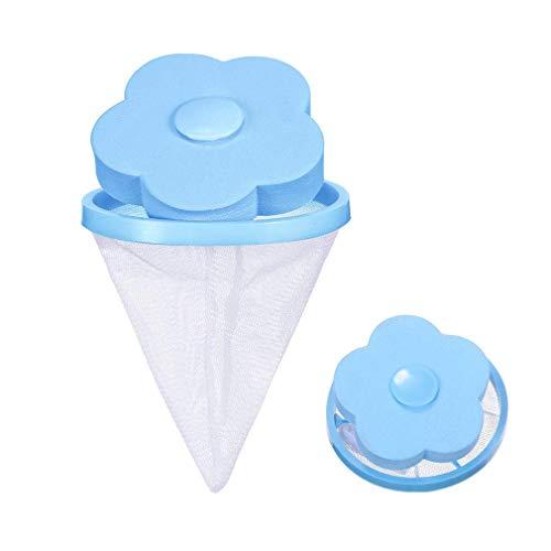 Amazingdeal365 Blume Form Waschmaschine Floating Lint Mesh Tasche Haar Filter Net Pouch Waschmaschine Lint Traps Lint Catcher -Blau