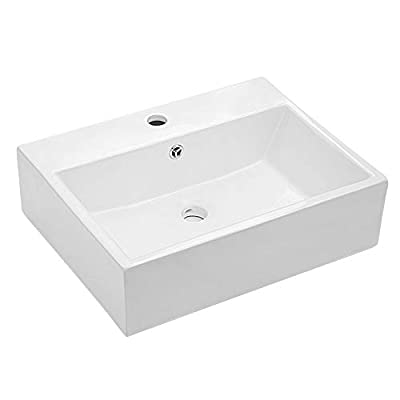 """Rectangular Vessel Sink - Lordear 21""""x16"""" Bathroom Vessel Sink Rectangle Wall Mounted White Porcelain Ceramic Vessel Vanity Sink Art Basin with Faucet Hole and Overflow"""