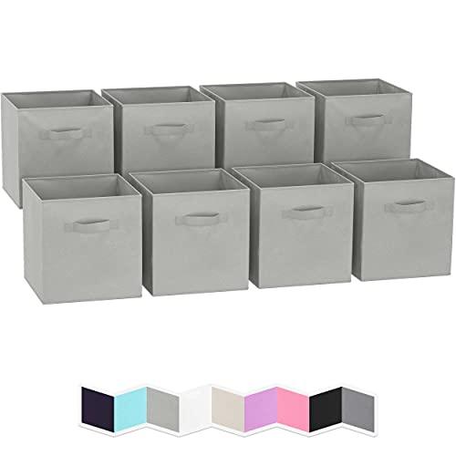 Royexe – Juego de 8 cubos de almacenamiento   cestas de tela plegables con asas dobles Cubos de almacenamiento Organizador de estante de clóset   Organizadores plegables para...