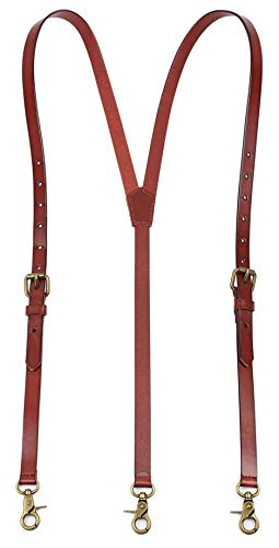 ROCKCOW Leather Suspenders, Mens Suspenders with Adjustable Strap, Best for Gift and Wedding, Hook Suspender Made with Genuine Leather