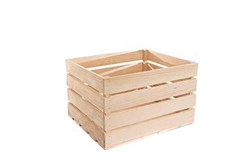 Natur Weinkisten Holz - Holzkiste Vintage - Obst Aufbewahrung - Deko Holzkisten -aufbewahrungskiste Holz - Groß Holzkiste 50x40x30 - Weinkiste Holzbox- Alte Stil (1)