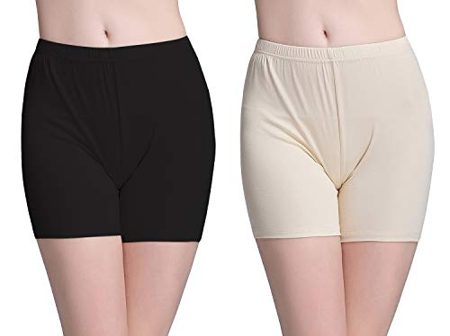 Vinconie Leggins Damen Kurz Knie Leggings Shorts Für Kleider Unterhose Boyshorts, 2 Pack: Schwarz & Beige, Medium / (42 44)