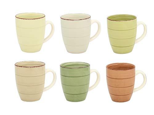 MC Trend 6er Set Kaffeebecher Tassen Pott Geschirr Kantine Küche Kaffee zu Hause 350 ml (Creme,Eierschale,HELLGRÜN,Oliv,BEIGE,BRAUN)