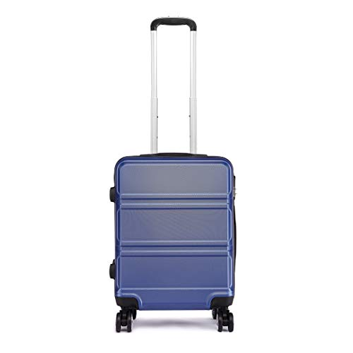 Kono 55cm Hard Shell Cabin Case 38L Carry On Hand Luggage 4 Wheeled Spinner Suitcase with TSA Lock (Navy)